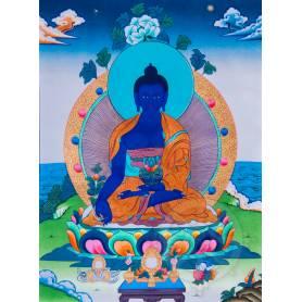 Exceptionnelle thangka de Bouddha Sangye Menla Av. brocart 70x110cm (Peint. 50cmx38cm) Qualité monastère