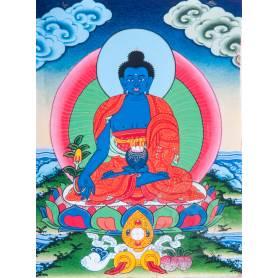 Superbe thangka de Bouddha Sangye Menla Av. brocart 30x45cm (Peint. 15cmx20cm)