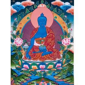 Superbe thangka de Bouddha Sangye Menla Av. brocart 50x85cm (Peint. 38cmx50cm)