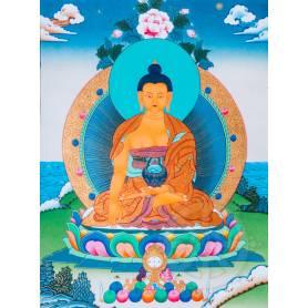 Exceptionnelle thangka de Bouddha Shakyamuni Av. brocart 70x110cm (Peint. 50cmx38cm) Qualité monastère