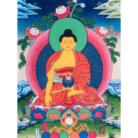 Superbe thangka de Bouddha Shakyamuni Av. brocart 30x45cm (Peint. 15cmx20cm)