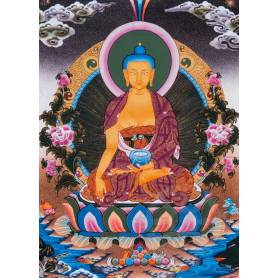 Superbe thangka de Bouddha Shakyamuni Av. brocart 50x85cm (Peint. 38cmx50cm)