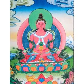 Superbe thangka de Bouddha Amitayus Av. brocart 30x45cm (Peint. 15cmx20cm)