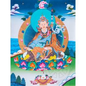 Exceptionnelle thangka de Guru Rinpoché Av. brocart 70x110cm (Peint. 50cmx38cm) Qualité monastère