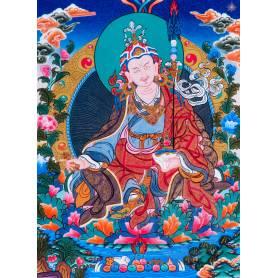 Superbe thangka de Guru Rinpoché Av. brocart 50x85cm (Peint. 38cmx50cm)