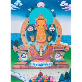 Exceptionnelle thangka de Bouddha Maitreya Av. brocart 70x110cm (Peint. 50cmx38cm) Qualité monastère
