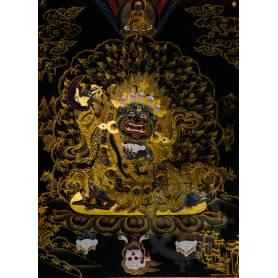 Exceptionnelle thangka de Mahakala Bernachen Av. brocart 70x110cm (Peint. 50cmx38cm) Qualité monastère