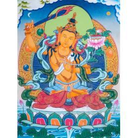 Superbe thangka de Manjushri Av. brocart 30x45cm (Peint. 15cmx20cm)