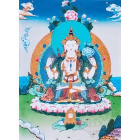 Exceptionnelle thangka de Tchenrézi Av. brocart 70x110cm (Peint. 50cmx38cm) Qualité monastère
