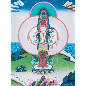 Exceptionnelle thangka de Tchenrézi à 1000 bras Av. brocart 70x110cm (Peint. 50cmx38cm) Qualité monastère