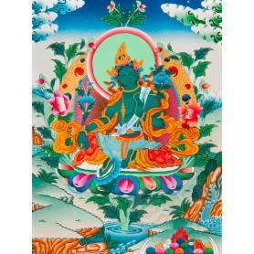 Exceptionnelle thangka de Tara Verte Av. brocart 70x110cm (Peint. 50cmx38cm) Qualité monastère