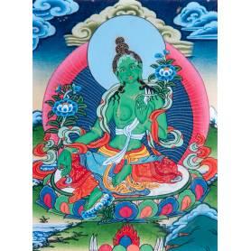 Superbe thangka de Tara Verte Av. brocart 30x45cm (Peint. 15cmx20cm)