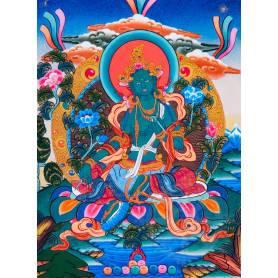 Superbe thangka de Tara Verte Av. brocart 50x85cm (Peint. 38cmx50cm)