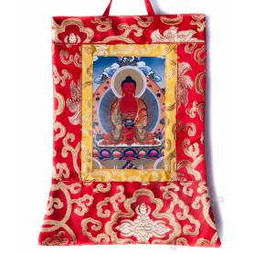Mini-thangkas pour votre autel  - Bouddha Amitabha Av. brocart 23x28,5cm (Repro. 9cmx14,5cm) -