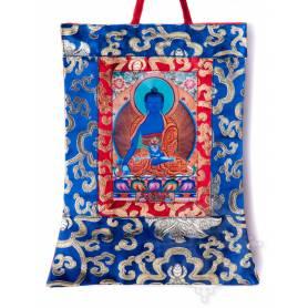 Mini-thangkas pour votre autel  - Bouddha Sangye Menla Av. brocart 23x28,5cm (Repro. 9cmx14,5cm) -