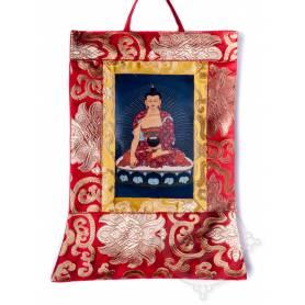 Mini-thangkas pour votre autel  - Bouddha Shakyamuni Av. brocart 23x28,5cm (Repro. 9cmx14,5cm) -