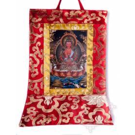 Mini-thangkas pour votre autel  - Bouddha Amitayus Av. brocart 23x28,5cm (Repro. 9cmx14,5cm) -