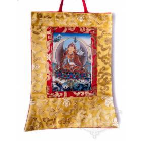 Mini-thangkas pour votre autel  - Guru Rinpoché Av. brocart 23x28,5cm (Repro. 9cmx14,5cm) -