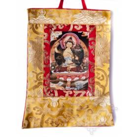 Mini-thangkas pour votre autel  - Manjushri Av. brocart 23x28,5cm (Repro. 9cmx14,5cm) -