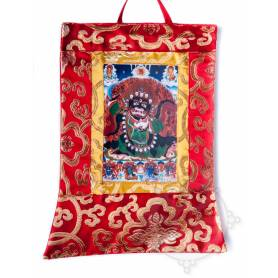 Mini-thangkas pour votre autel  - Mahakala Bernachen Av. brocart 23x28,5cm (Repro. 9cmx14,5cm) -