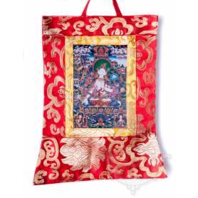 Mini-thangkas pour votre autel  - Tara Blanche Av. brocart 23x28,5cm (Repro. 9cmx14,5cm) -