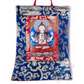 Mini-thangkas pour votre autel  - Tchenrézi Av. brocart 23x28,5cm (Repro. 9cmx14,5cm) -