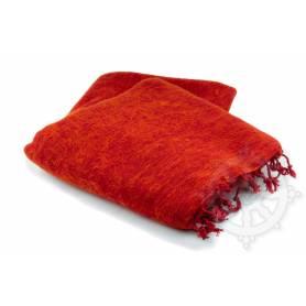 Couverture de méditation Rouge orange pour l'été (Laine de yack/coton, L. 220 x l. 120cm)