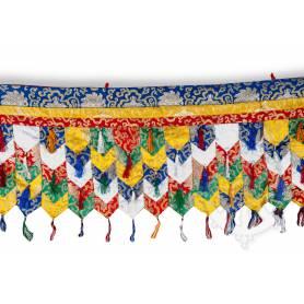 Fronton mural de très grande qualité en brocart multicolore (Brocart de soie brodé, L. 5m x H. 40cm)