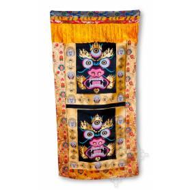 UNIQUE! Rideau de porte représentant Mahakala (Brocart de soie brodé, H. 190cm x l. 90cm)