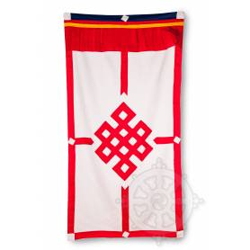 Rideau de porte avec Nœud Infini Rouge (Coton, H. 185cm x l. 93cm)