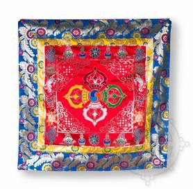 Unique! Merveilleux ensemble de 3 pièces de brocart en soie rouge pour trône (Jeu de 3 pièces dossier, siège, face)