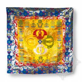 Unique! Merveilleux ensemble de 3 pièces de brocart en soie jaune pour trône (Jeu de 3 pièces dossier, siège, face)