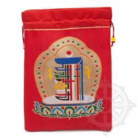 Grande pochette multi-fonctions rouge brodée kalachakra en soie (L. 19,5 x l. 10cm)