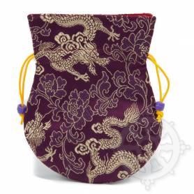 Pochette pour mala/bijoux en tissu violet et au motif dragon (L. 13,5 x l. 10cm)