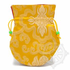 Pochette pour mala/bijoux en tissu jaune et au motif floral (L. 13,5 x l. 10cm)