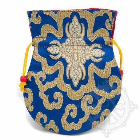 Pochette pour mala/bijoux en tissu bleu et au motif floral (L. 13,5 x l. 10cm)