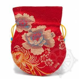 Pochette pour mala/bijoux en tissu rouge et au motif floral (L. 13,5 x l. 10cm)