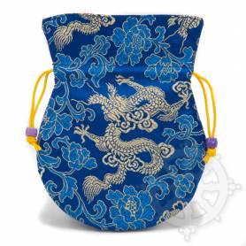 Pochette pour mala/bijoux en tissu bleu et au motif dragon (L. 13,5 x l. 10cm)