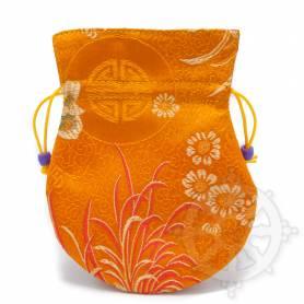 Pochette pour mala/bijoux en tissu orange et au motif floral (L. 13,5 x l. 10cm)