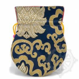 Pochette pour mala/bijoux en tissu bleu foncé et au motif floral (L. 13,5 x l. 10cm)