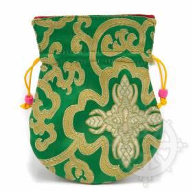 Pochette pour mala/bijoux en tissu vert et au motif floral (L. 13,5 x l. 10cm)