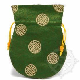 Pochette pour mala/bijoux en tissu vert foncé/or  et au motif rond (L. 13,5 x l. 10cm)