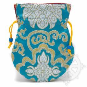 Pochette pour mala/bijoux en tissu tuquoise et au motif floral (L. 13,5 x l. 10cm)