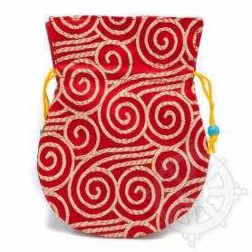 Pochette pour mala/bijoux en tissu rouge et au motif spirale (L. 13,5 x l. 10cm)