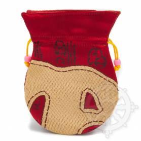 Pochette pour mala/bijoux en tissu rouge/or  et au motif primitif (L. 13,5 x l. 10cm)