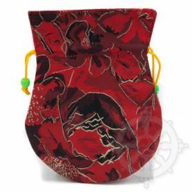Pochette pour mala/bijoux en tissu rouge/noir et au motif floral (L. 13,5 x l. 10cm)
