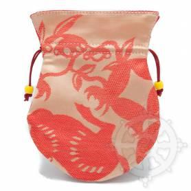 Pochette pour mala/bijoux en tissu saumon et au motif floral (L. 13,5 x l. 10cm)