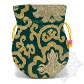 Pochette pour mala/bijoux en tissu vert foncé et au motif floral (L. 13,5 x l. 10cm)