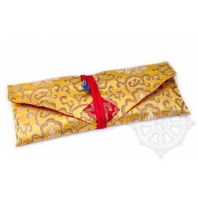 Porte-texte en belle soie jaune au motif Floral (L. 32 x l. 14 x H. 2cm)