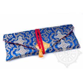Porte-texte en belle soie bleu au motif Floral (L. 32 x l. 14 x H. 2cm)